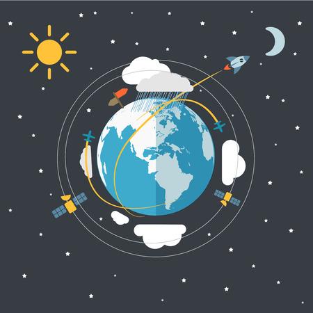trajectoire: Conception plate illustration de la Terre dans l'espace