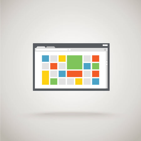 Browser window with color tile. Design template  Vector