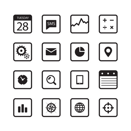 Modern gadgets buttons collection isolated on white Vector