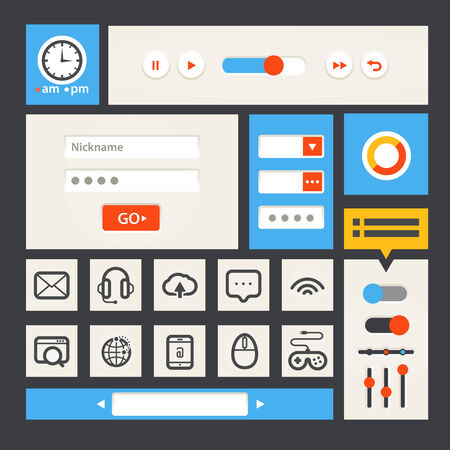 Web interface template  Flat design Vector