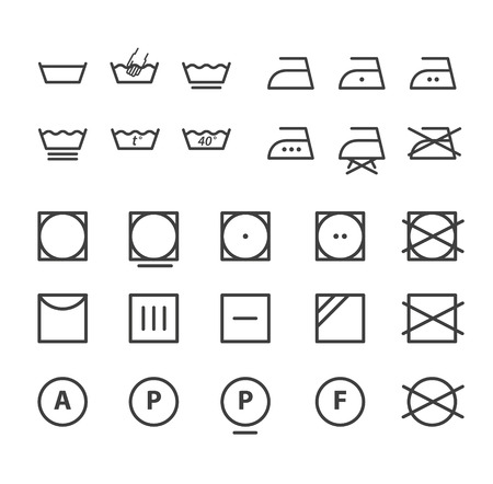 Washing instruction symbols collection Vector