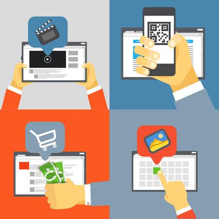 web browser: Digital media industry. Flat design concept