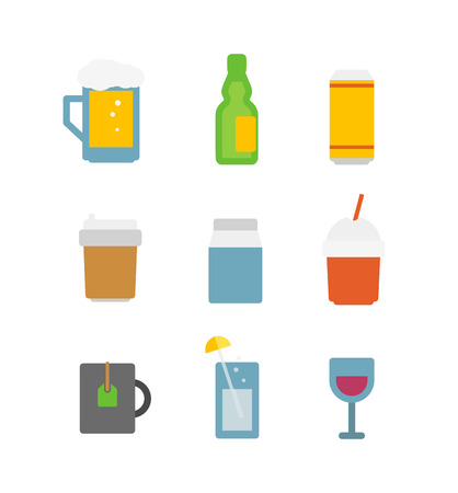 Different drinks icons set isolated on white  Flat design icons Vector