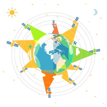 trajectoire: Conception plate illustration de la Terre dans l'espace et les satellites Illustration