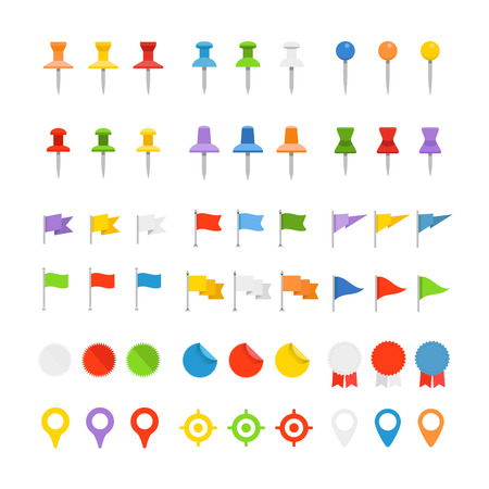 Navigation pins, flags and insignias collection isolated on white Illustration