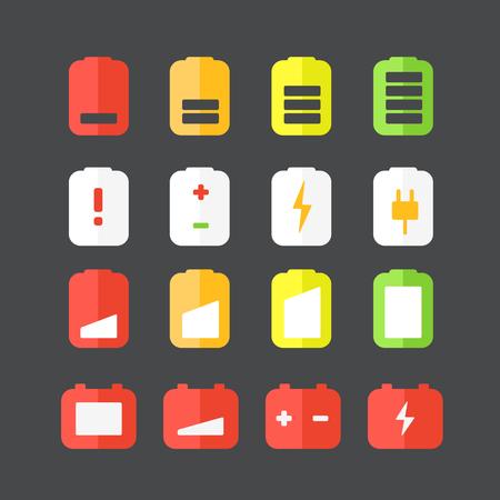 Different accumulator status icons Vector