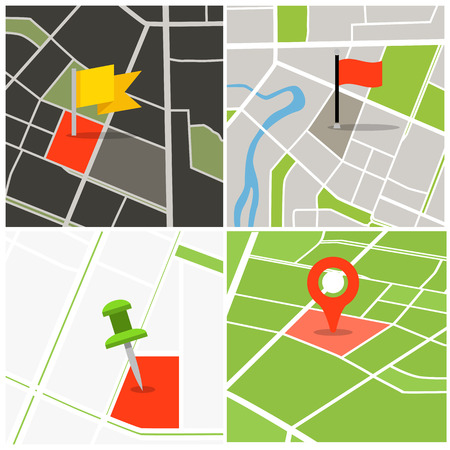 point of view: Abstract city map collection with pins