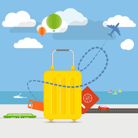 Dovolená cestování pojetí ilustrace