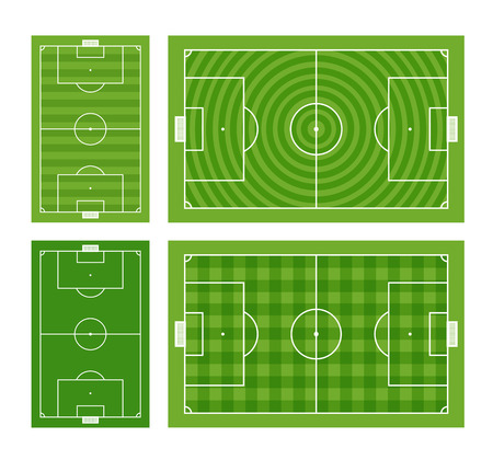 offside: Different green football fields set