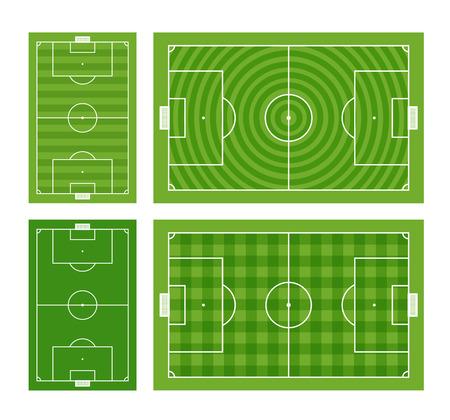 touchline: Different green football fields set