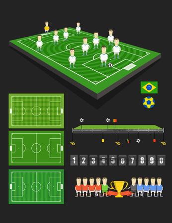 crossbars: Soccer match infographic elements Illustration