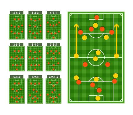 Main football strategy schemes Stock Vector - 29040591