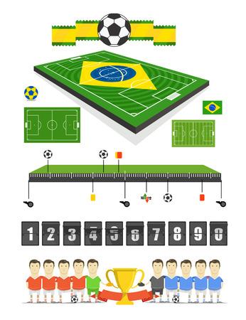 crossbars: Brazil Soccer match infographic elements