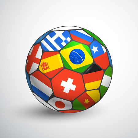 crossbars: Football ball with different flags