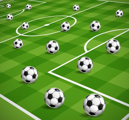 crossbars: soccer balls illustration