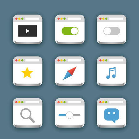 Different web icons set with rounded corners. Design elements Vector