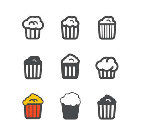 corn flakes: Different popcorn icons set  Design elements