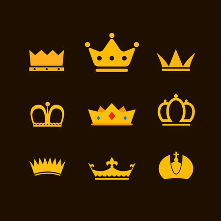 Different crowns collection Vector