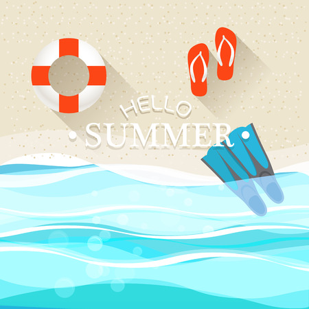 Summer seaside vacation illustration Stock Vector - 30490197