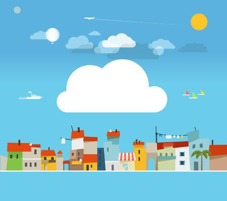 world village: Vacation travelling concept  Flat design illustration