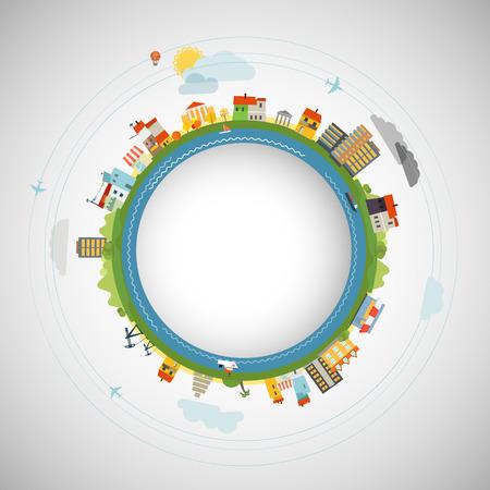 trajectoire: Design plat illustration de la Terre Illustration