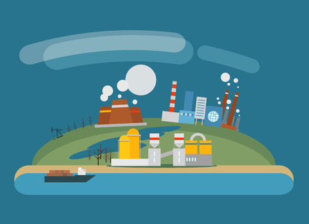 industria petrolera: Ilustraci�n moderna industria del petr�leo Vectores