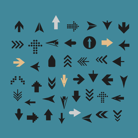 arrow icons: Arrow sign silhouettes collection