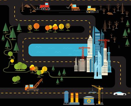 Modern city flat design illustration  Vector