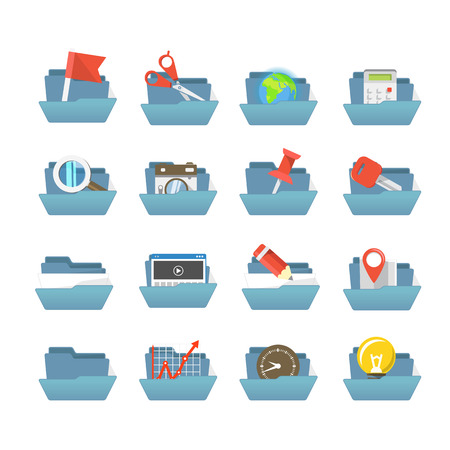 Folders collection with different content Vector
