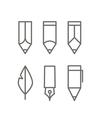 pencil symbol: Paint and writing tools collection. Design elements Illustration