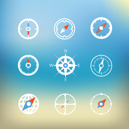 dial compass: White compass icons clip-art on color background. Design elements