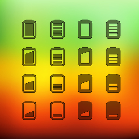 accu: Web interface icons clip-art on color background. Design elements Illustration