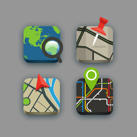 search button: Different travel icons set with rounded corners. Design elements