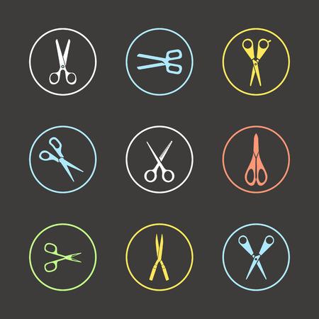 Different types of scissors. Design elements Vector