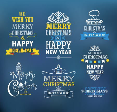 Merry Christmas and a happy New Year wishes. Design elements Vector