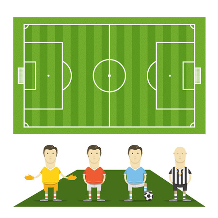 crossbars: Green football field with football players