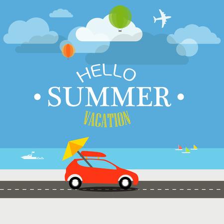 summer vacation: Vacation travelling concept. Flat design illustration