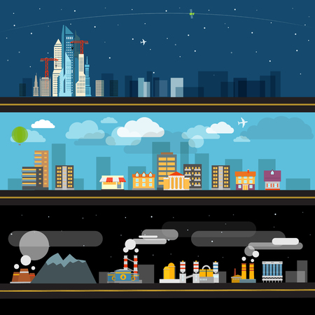 city night: Abstract city map illustration set. Ftat design