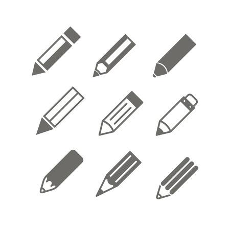 Potlood iconen vector set Stock Illustratie