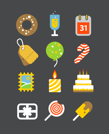 holiday icons: Different holiday icons set with rounded corners. Vector illustration