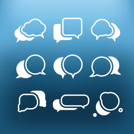 White communication cloud icons clip-art on color background. Design elements
