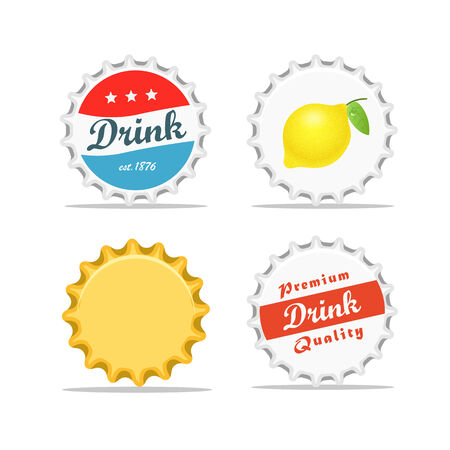 soda bottle: Different bottle caps set. flat design Illustration