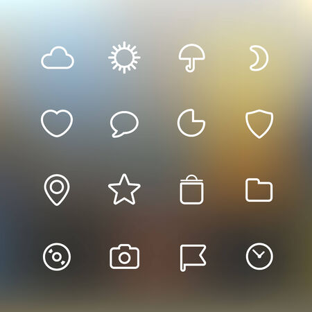 White web interface icons clip-art on color background. Design elements Vector