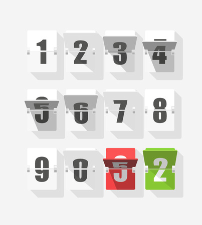 Counter with digits set. Flat design Illustration