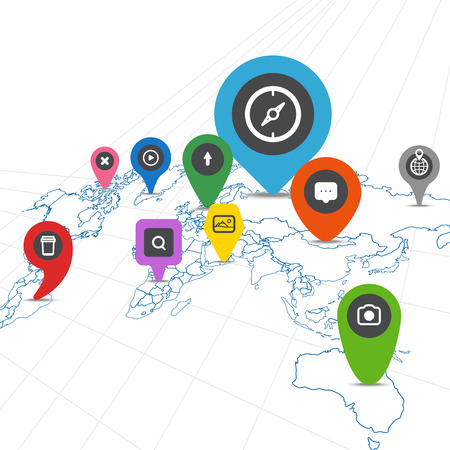 Social network scheme on the Earth map in perspective Vector