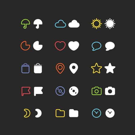 sonne mond und sterne: Farbe Web-Interface Icons Clip-Art. Design-Elemente