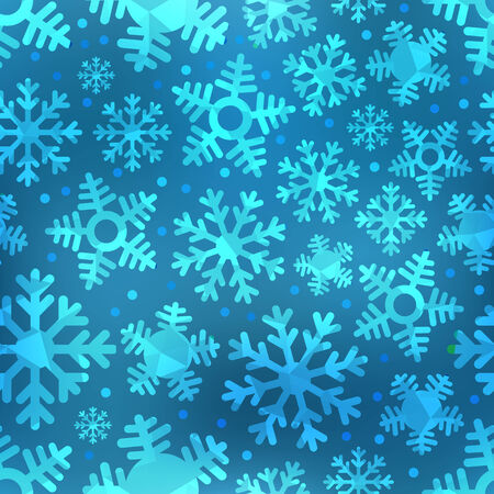 Different blue snowflakes set. Abstract seamless background Vector