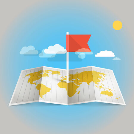 World map with red flag. Design elements Vector