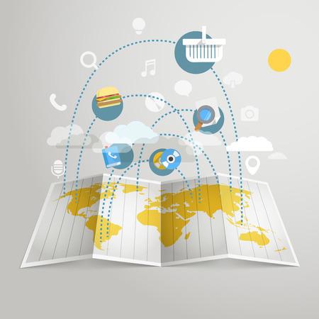 world trade: El comercio mundial esquema abstracto. Los elementos de dise�o Vectores