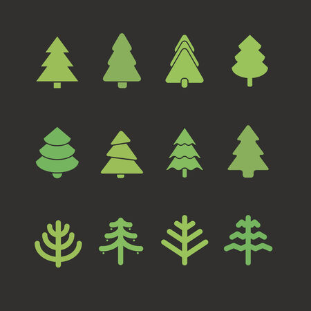 pine tree silhouette: Different christmas tree set. Design elements Illustration